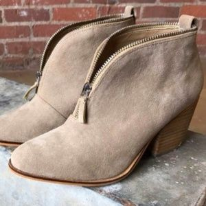 VIVIENNE - V Cut Brushed Suede Bootie with Zipper